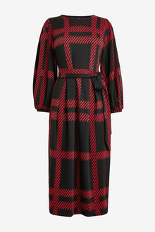 Next Check Jacquard Belted Dress - 262866