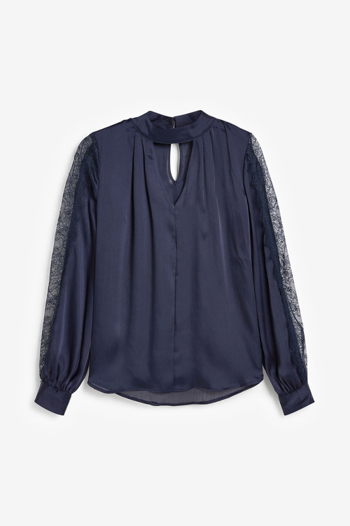 Next Lace Detail Long Sleeved Top