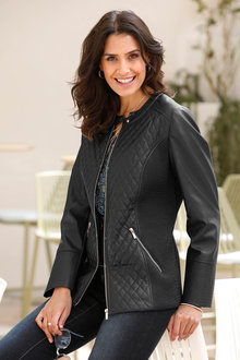Euro Edit Quilt Look PU Jacket - 262951
