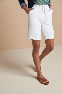 Next Linen Blend Knee Shorts - 262957