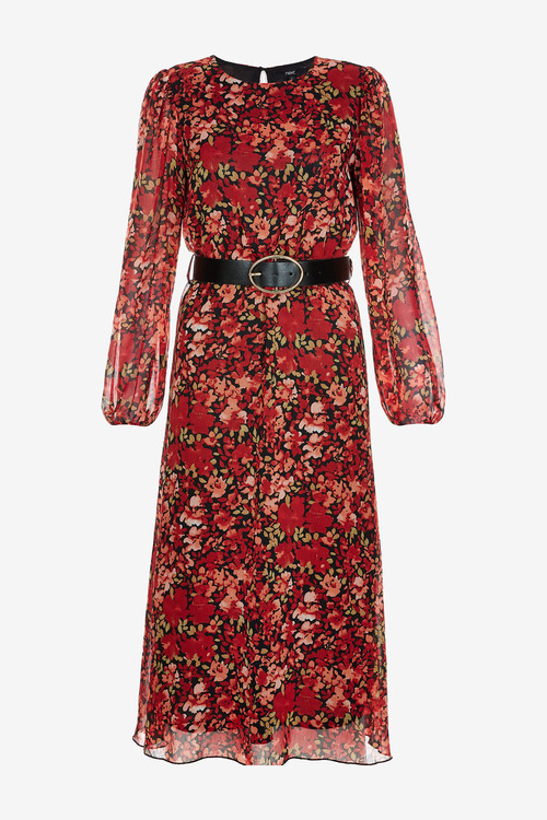 Next Printed Long Sleeve Belted Dress