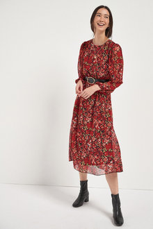 Next Printed Long Sleeve Belted Dress - 262987