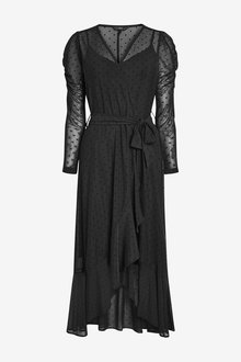 Next Mesh Wrap Midi Dress - 263009