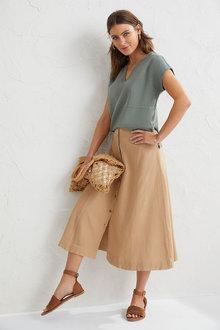 Capture Linen Blend Midi Skirt - 263040