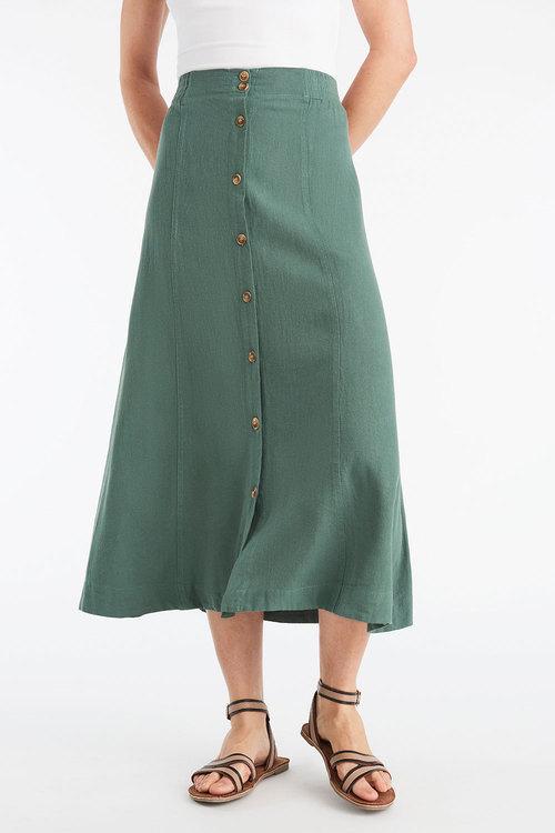 Capture Linen Blend Midi Skirt