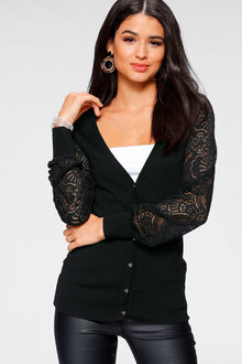 Urban Lace Sleeve Cardigan - 263065