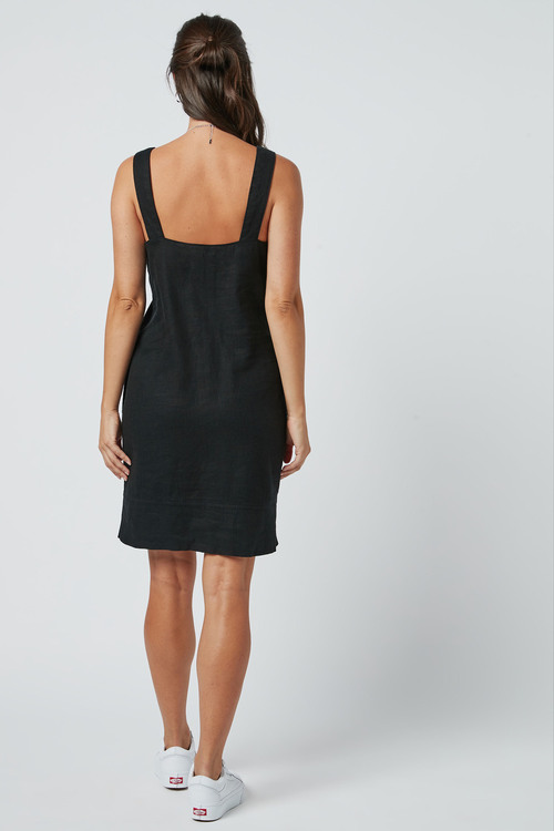 Next Linen Blend Square Neck Dress