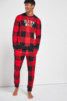 Next Matching Family Mens Christmas Slogan Check Pyjamas - 263231