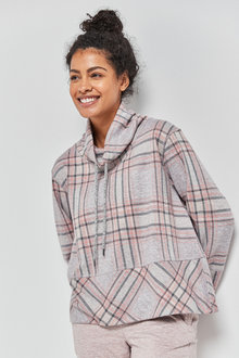 Next Check Funnel Neck Lounge Top - 263374