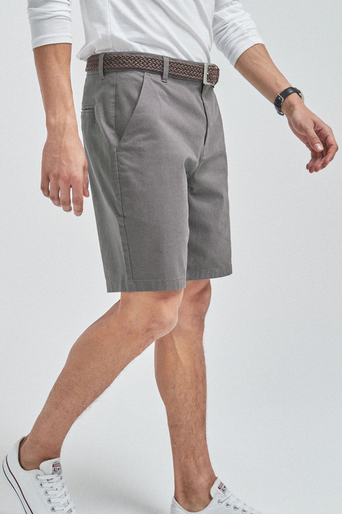 Next Ditsy Print Belted Chino Shorts-Straight Fit