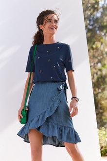 Next TENCEL Ruffle Hem Wrap Skirt - Tall - 263529