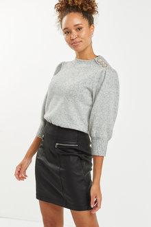Next Coated Denim Zip Mini Skirt - Tall - 263530