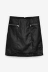 Next Coated Denim Zip Mini Skirt - Tall