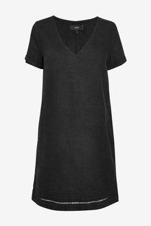 Next Linen Blend T-Shirt Dress - Tall - 263547