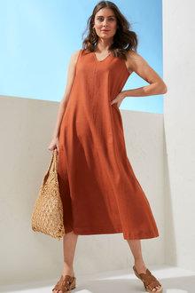 Capture Linen Blend V Neck Midi Dress - 263636