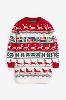Next Matching Family Girls Christmas Rudolph Fairisle Pattern Jumper - 263653