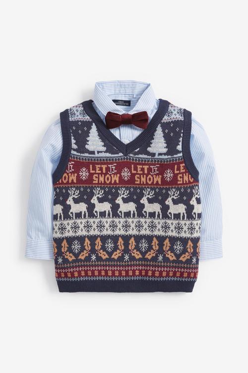 Next Christmas Fairisle Knitted Tank, Shirt And Bow Tie Set (3mths-7yrs)
