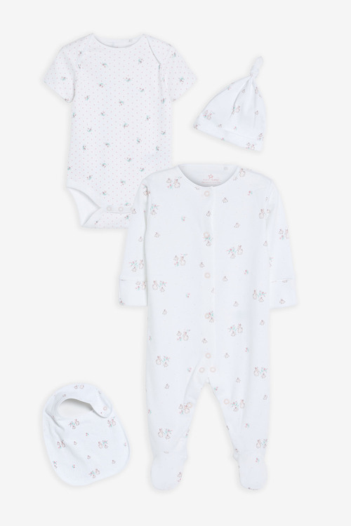 Next GOTS Organic Bunny Sleepsuit, Short Sleeve Bodysuit, Bib and Hat