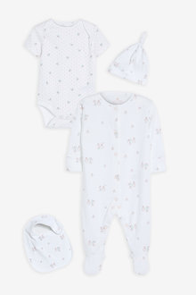 Next GOTS Organic Bunny Sleepsuit, Short Sleeve Bodysuit, Bib and Hat - 263797
