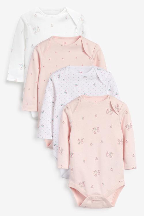 Next 4 Pack GOTS Organic Bunny Long Sleeve Bodysuits (0mths-3yrs)