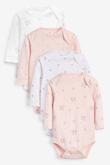 Next 4 Pack GOTS Organic Bunny Long Sleeve Bodysuits (0mths-3yrs) - 263810