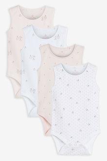 Next 4 Pack GOTS Organic Bunny Vest Bodysuits (0mths-3yrs) - 263811