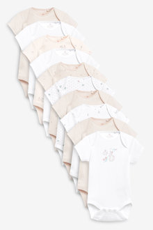 Next 10 Pack GOTS Organic Bunny Short Sleeve Bodysuits (0mths-3yrs) - 263814