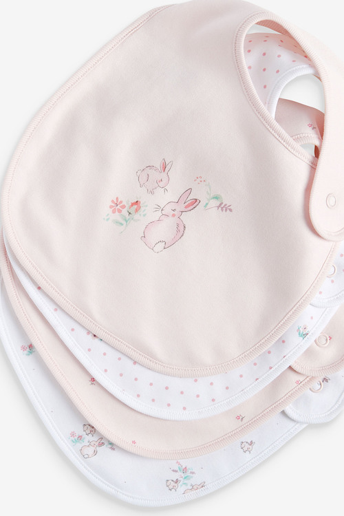Next 4 Pack GOTS Organic Delicate Bunny Bibs