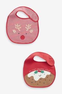 Next 2 Pack Christmas Pudding Regular Bibs - 263821