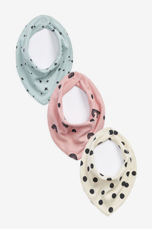 Next 3 Pack Mini Print Gathered Dribble Bibs - 263822