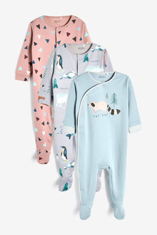 Next 3 Pack Racoon Sleepsuits (0mths-2yrs) - 263836