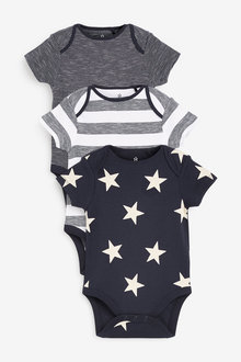 Next 3 Pack Star Short Sleeve Bodysuits (0mths-3yrs) - 263845