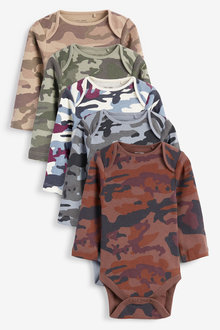 Next 5 Pack Camo Long Sleeve Bodysuits (0mths-3yrs) - 263849