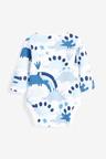Next 3 Pack GOTS Organic Dinosaur Long Sleeve Bodysuits (0mths-3yrs)