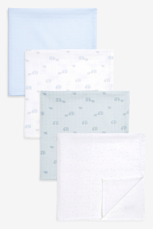 Next 4 Pack Elephant Muslin Squares