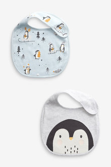 Next 2 Pack GOTS Organic Penguin Christmas Bibs - 263858