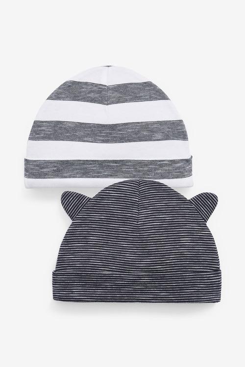 Next 2 Pack Navy Slub Beanie Hats (0-18mths)