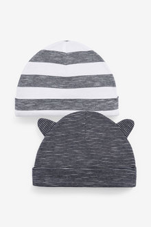 Next 2 Pack Navy Slub Beanie Hats (0-18mths) - 263861