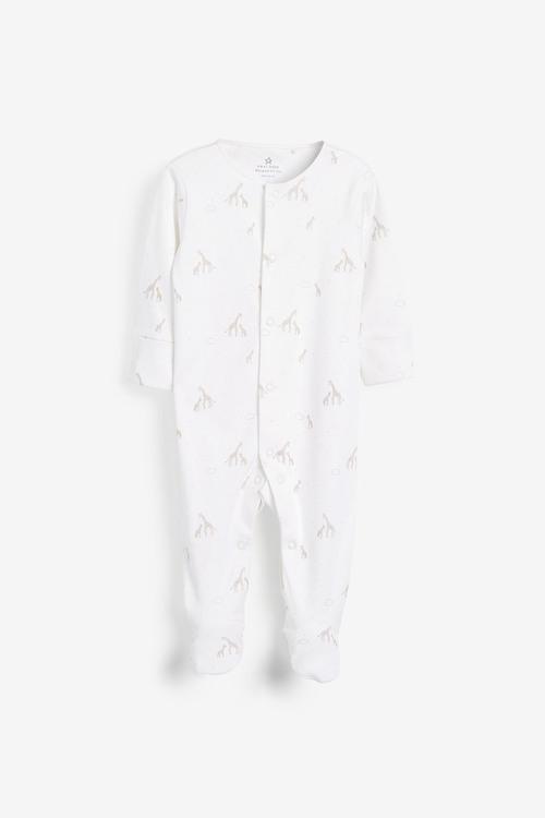Next GOTS Organic Giraffe Sleepsuit, Short Sleeve Bodysuit, Bib And Hat