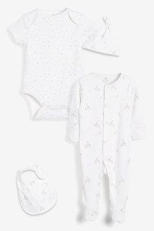 Next GOTS Organic Giraffe Sleepsuit, Short Sleeve Bodysuit, Bib And Hat - 263872
