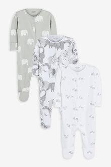 Next 3 Pack Organic Mono Elephant Sleepsuits (0mths-2yrs) - 263886