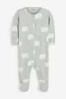 Next 3 Pack Organic Mono Elephant Sleepsuits (0mths-2yrs)