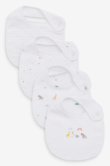 Next 4 Pack GOTS Organic Bright Elephant Bibs - 263904