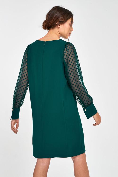 Next Sheer Sleeve Crepe Shift Dress