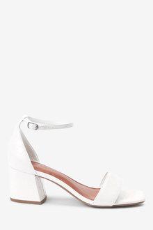Next Forever Comfort Simple Block Heel Sandals- Wide Fit-Wide - 264023