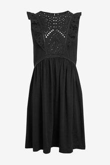 Next Black Broderie Frill Sleeve Dress - 264117