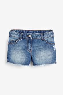 Next Mid Blue Frayed Hem Denim Shorts - 264125