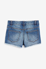 Next Mid Blue Frayed Hem Denim Shorts (5-16yrs)