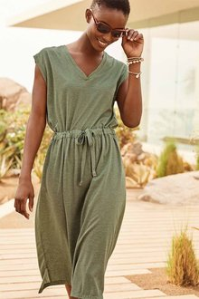 Next Khaki Stripe V-Neck T-Shirt Dress - 264134