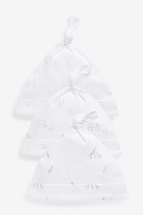 Next 3 Pack GOTS Organic Delicate Multi Print Tie Top Hats (0-12mths)